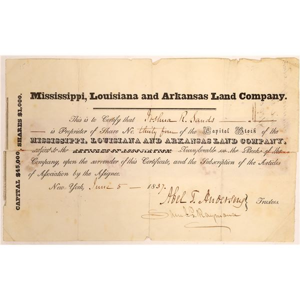 Mississippi, Louisiana and Arkansas Land Company Stock Certificate  [134154]