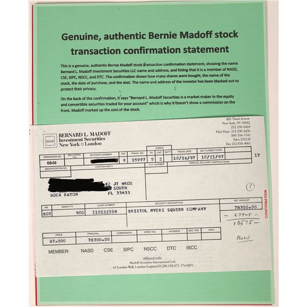 Bernard Madoff Investment Securities Stock Confirmation Slip- Market Fraudster  [129566]