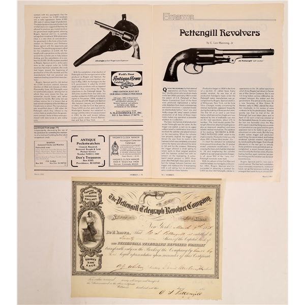 Pettengill Telegraph Revolver Co. Stock Issued to & Signed by CS Pettengill  [134081]