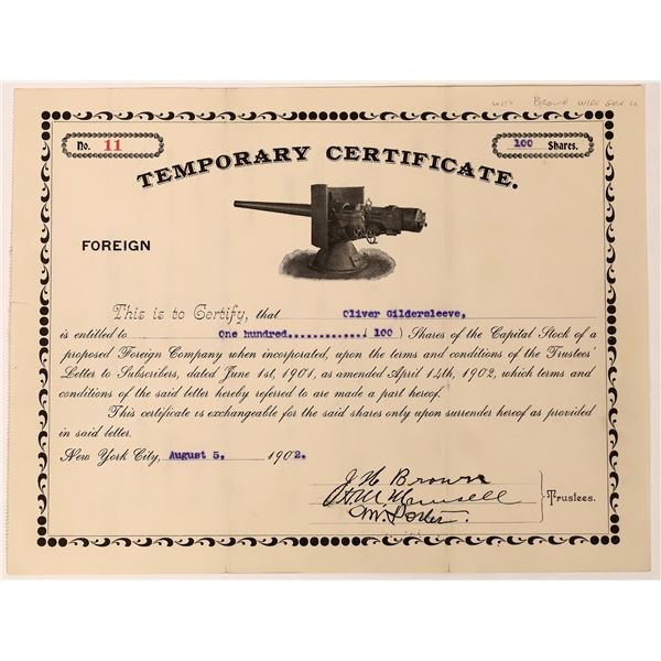 Brown Wire Gun Temporary Certificate  [129757]