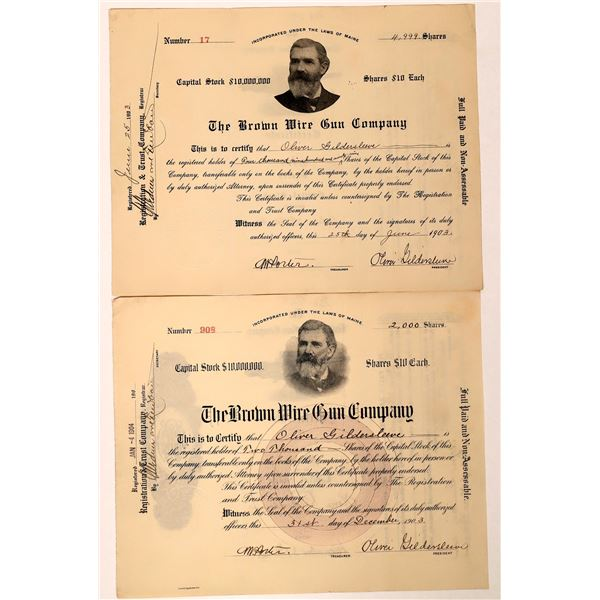 The Brown Wire Gun Company Stock Certs (2)  [129756]