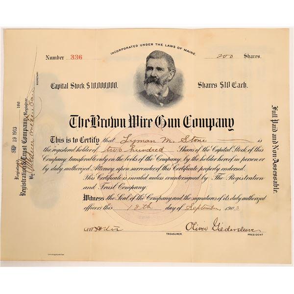 Brown Wire Gun Stock Certificate  [132813]