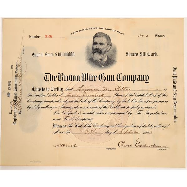 Brown Wire Gun Stock Certificate  [132813]