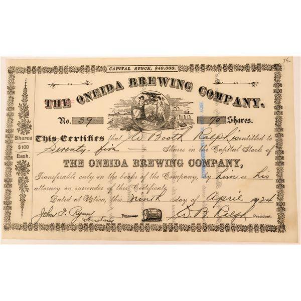 Earlier Oneida Brewing Company Stock  [123318]