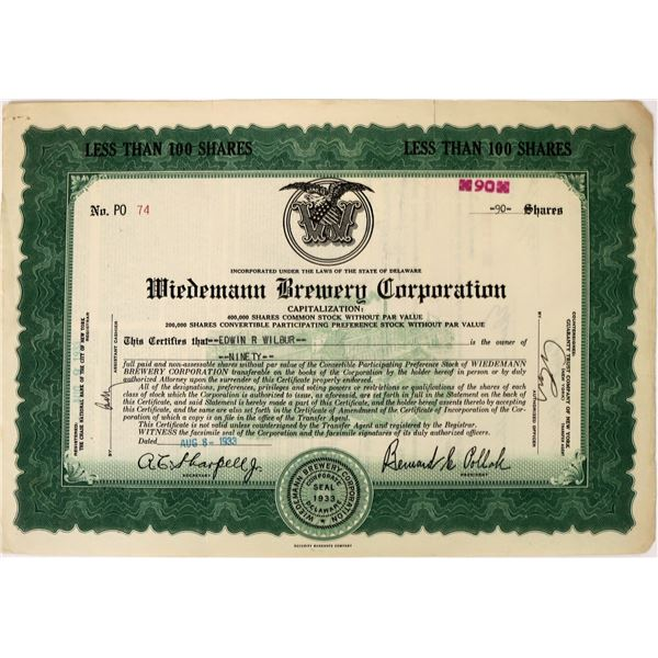Wiedemann Brewery Corporation Stock  [135407]