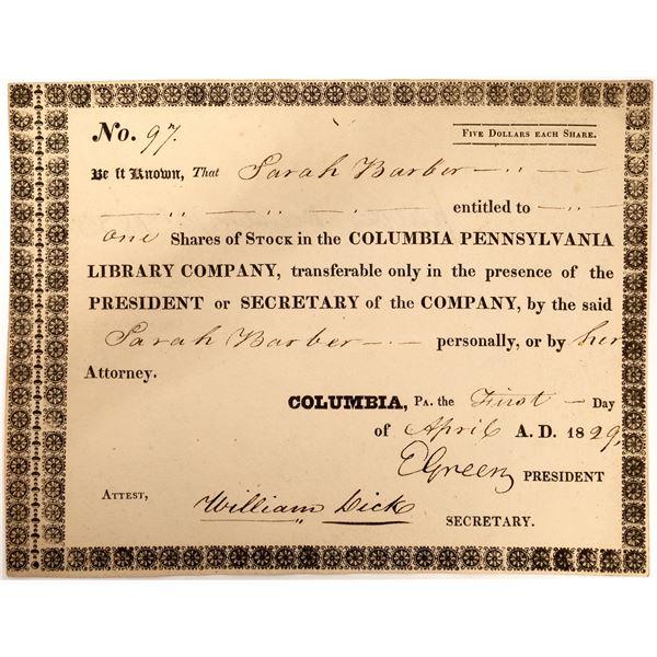 Columbia Pennsylvania Library Company 1829 Stock Certificate  [127614]