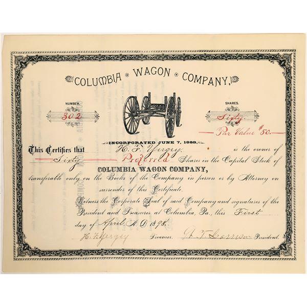 Columbia Wagon Company Stock Certificate, 1898  [111890]