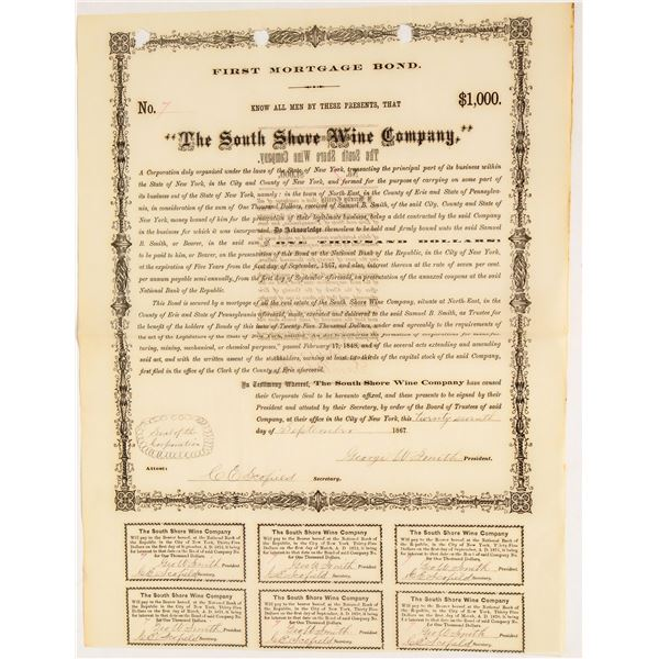 Wine Company First Mortgage Bond 1867  [124581]