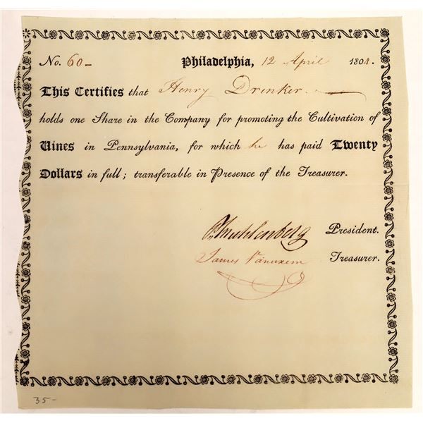 Vine Company of Philadelphia Stock Certificate, 1804  [111859]