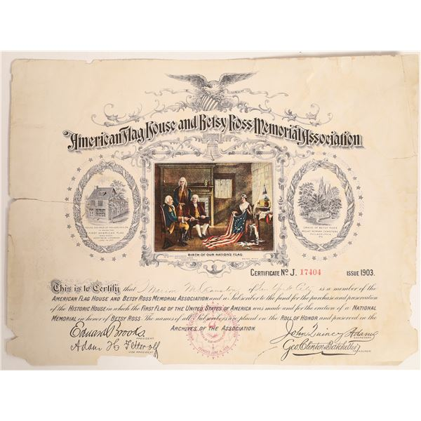 American Flag House and Betsy Ross Memorial Association Stock Certificate  [132731]