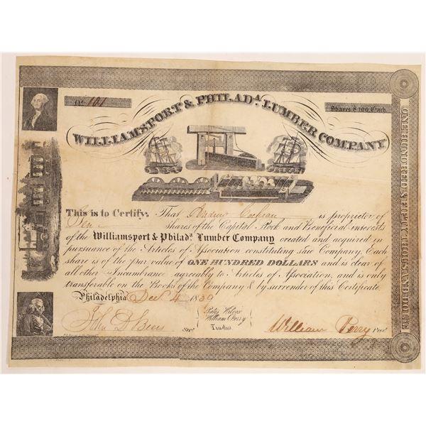 Williamsport & Philadelphia Lumber Company Stock Certificate  [134137]