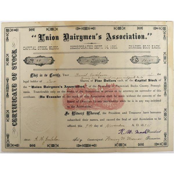 (Dairy) Union Dairymen's Association Stock with nice Pink Underprint  [123257]