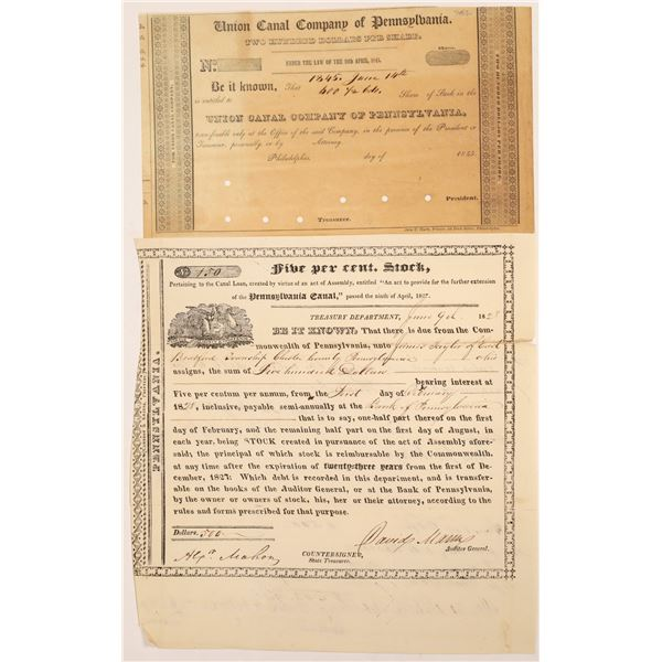 Early Pennsylvania Canal Stock Certificate & Bond  [134150]
