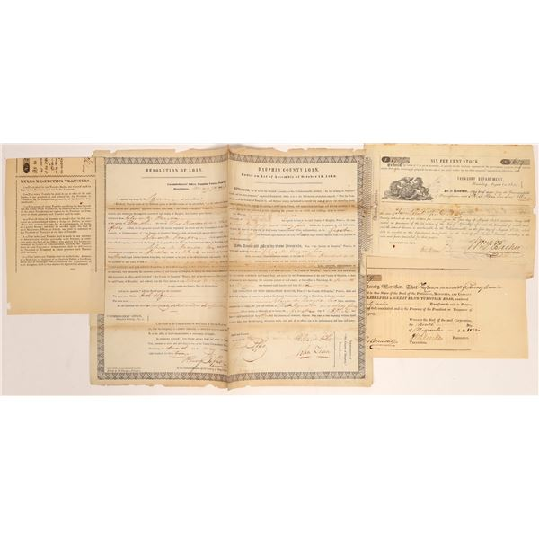Three Early Pennsylvania Stocks & Bonds   [134161]