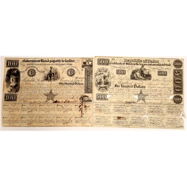 $100 and $500 Republic of Texas Certified Stock and Bond  [130165]