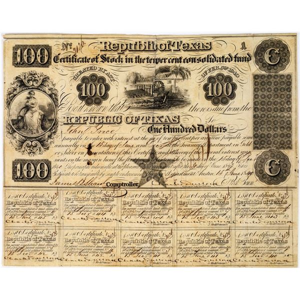 Republic of Texas $100 Bond  [135406]