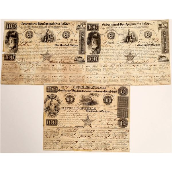 Three (two different) Republic of Texas Certified Stocks  [130163]