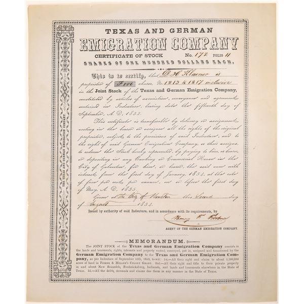 Texas & German Emigration Company Stock Certificate  [134148]