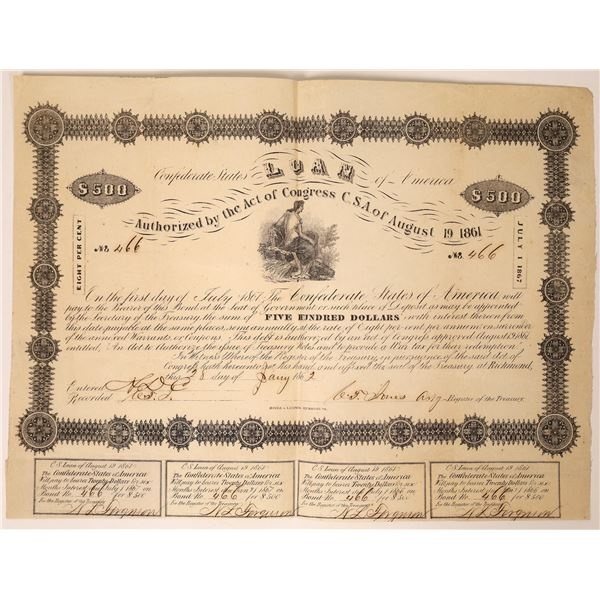 1862 Confederate Bond Signed by Jones, Ball 46, Criswell 54, VF  [111854]