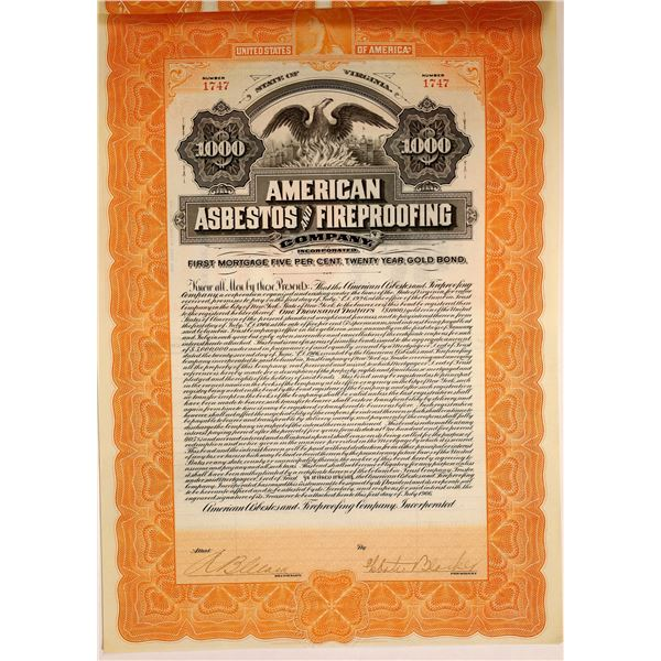 American Asbestos and Fireproofing $1000 Gold Bond  [131876]