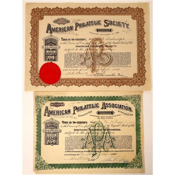 American Philatelic Association and Society Stock Certificates (2)  [127987]
