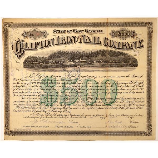 Clifton Iron and Nail Company 1870 Bond  [127969]