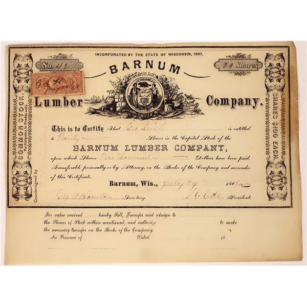 Barnum Lumber Company Stock Certificate  [129753]