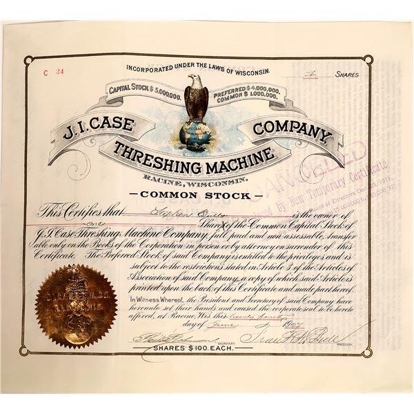 J.I. Case Threshing Machine Stock Certificate, Racine, Wisc. 1907  [111880]