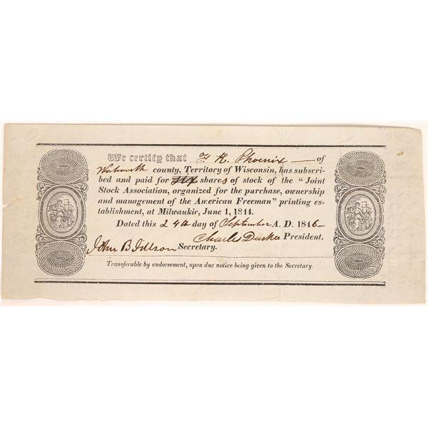 American Freeman (Anti-Slavery Newspaper) Stock Certificate  [134145]