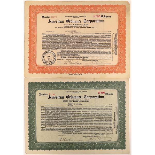 American Ordnance Corporation Stock Certs (2)  [129758]