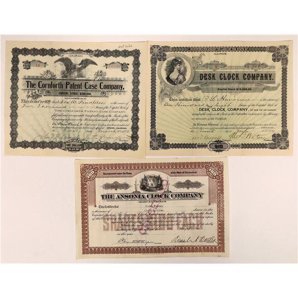 Clock Company Stock Certificates (3)  [127977]