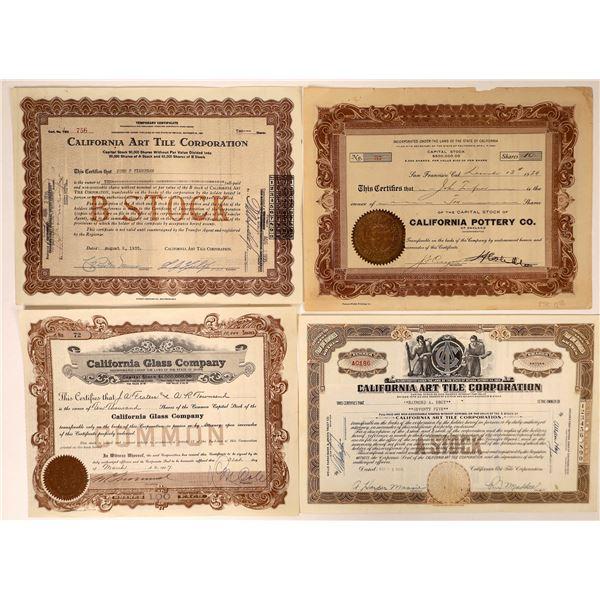 Pottery Art Tile Glass Companies' Stock Certificates (4)  [127966]