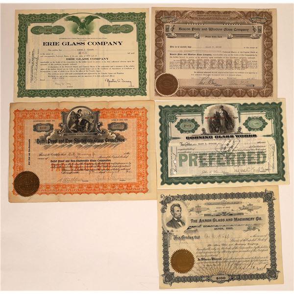 Glass Company Stock Certificates (5)  [129750]