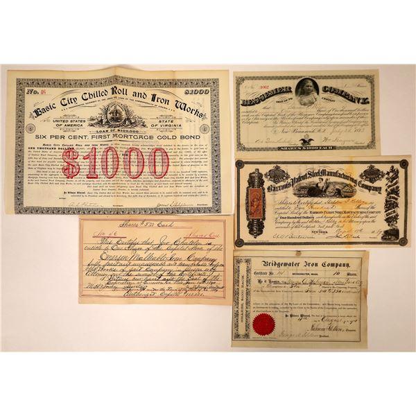Pre-1900 Steel and Iron Companies Stock Certificates & Bond (5)  [127603]
