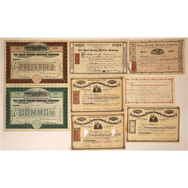 Sewing Machine Cos. Stock Certificates (8)  [127967]