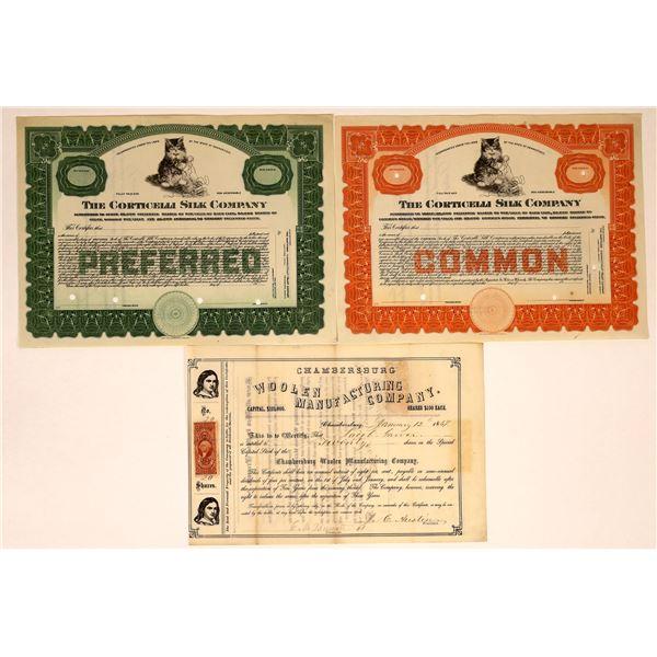 Silk & Wool Industry Stock Certificates (3)  [127985]