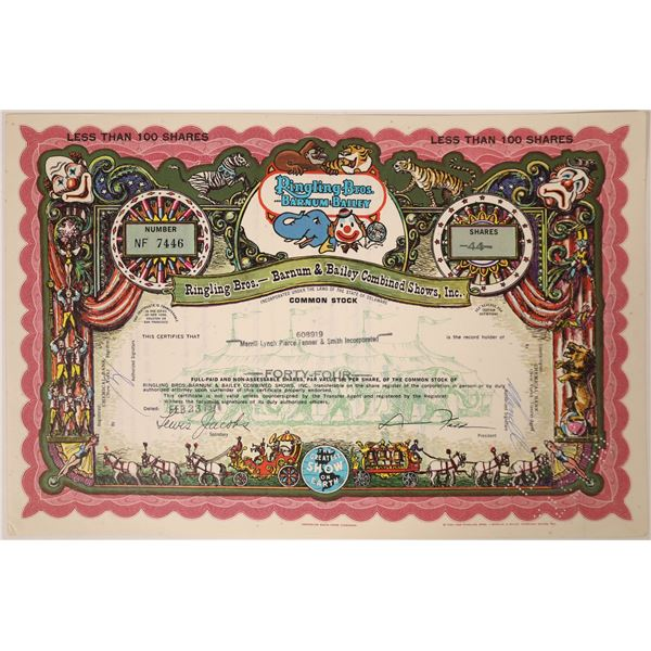 Ringling Bros. - Barnum & Bailey Combined Shows Stock Certificate  [131874]