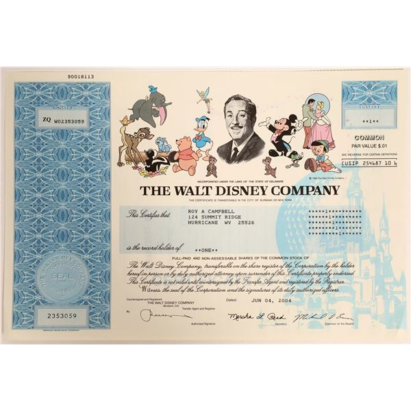 Walt Disney Stock Certificate with the Entire Disney Cast in Color  [130170]