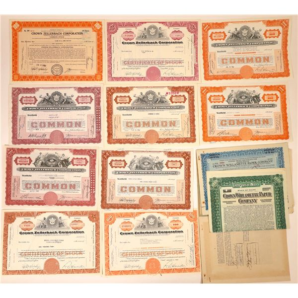 Crown Paper Companies Stock Certificates and Bond (17)  [127604]