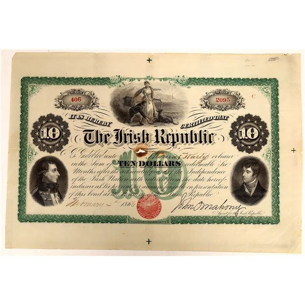 Irish Republic Ten Dollar Bearer Bond, 1866  [111860]