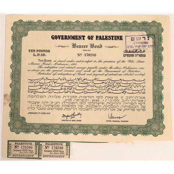 Govt. Of Palestine Bearer Bond, Jerusalem, 1945  [111877]