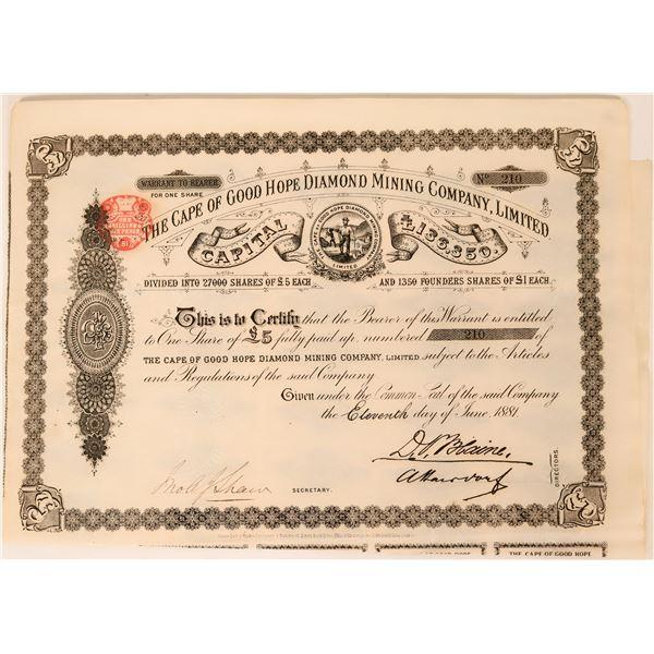 Cape of Good Hope Diamond Mining Company Certificate, England, 1881  [135393]