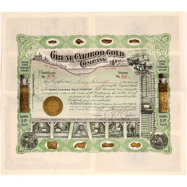 Great Cariboo Gold Company Stock Certificate  [134063]
