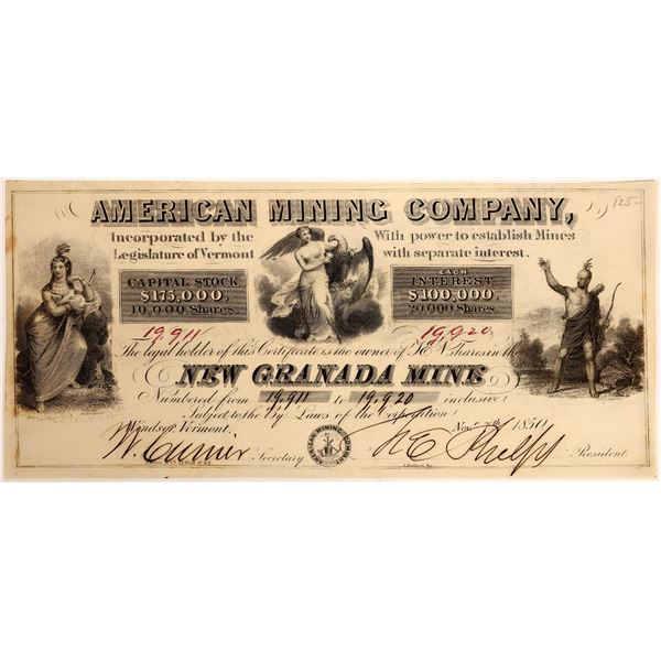 American Mining Company, New Granada Mine Stock, 1850  [118369]