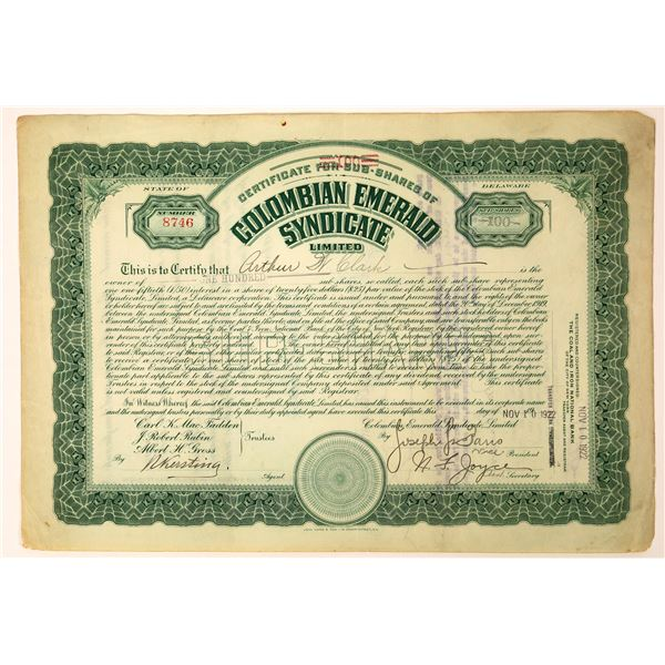 Colombian Emerald Syndicate Stock Certificate  [127986]