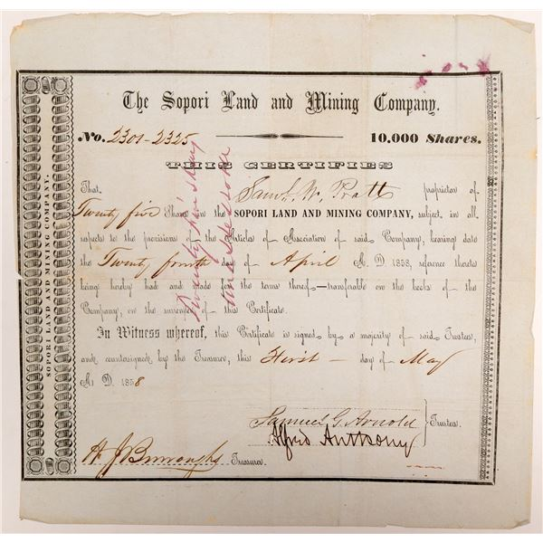 Sopori Land and Mining Company Stock Certificate  [106526]