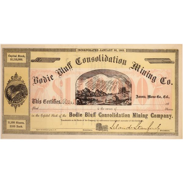 Bodie Bluff Cons. Mining Co. Stock Signed by Leland Stanford  [134065]