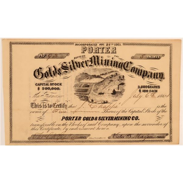 Porter Gold & Silver Mining Co. Stock Certificate  [106824]