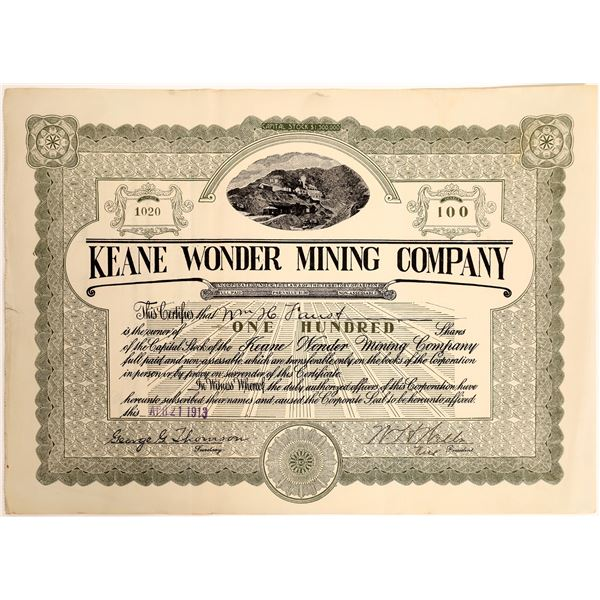 Keane Wonder Mining Company Stock with Vignette of Keane Operation   [130169]