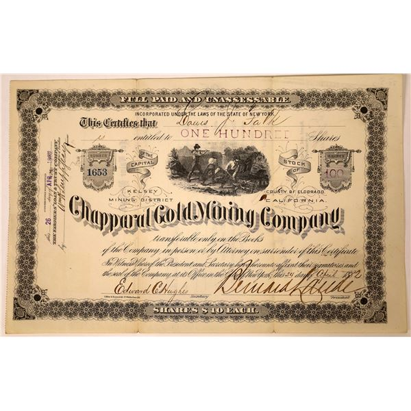 Chapparal Gold Mining Stock, Kelsey District, El Dorado County, Cal. 1882  [129563]